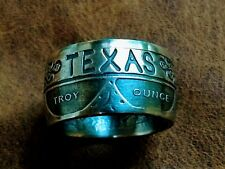 Coin ring handmade from Texas Rangers Badge 1 ounce coin .999 silver