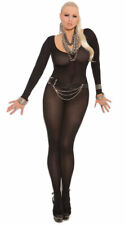 Queen Size Womens Plus Size Opaque Long Sleeve Bodystocking