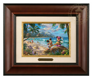 Thomas Kinkade Studios Mickey and Minnie In Hawaii Brushwork (Choice of Frame)