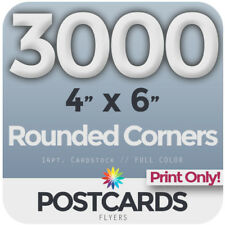 """3000 FullColor 4""""x6"""" POSTCARDS/FLYERS -Rounded Corners - PRINTING ONLY FREE SHIP"""