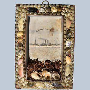 """Antique Victorian 19C Miniature Seashell Frame """"Remember The Maine"""" #2"""