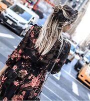 ZARA FLOWING FLORAL PRINTED LONG DRESS MAXIKLEID KLEID BLUMENPRINT DEVORE SAMT