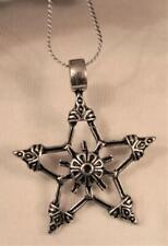 Floral Star Silvertone Necklace Pendant Lovely Openwork Flute Capped Flower