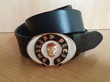 New metal gold skull head white philipp plein fashion leather belt plein