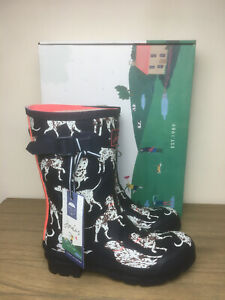Brand New Joules Molly Mid Height Printed Wellies Size 6 Navy Dalmatian Womens