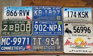 Vintage LICENSE PLATE Lot ANTIQUE Metal Car Tags Plates RETRO Man Cave Decor ☆US