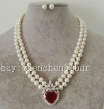 2-reihige weiße Süßwasserperle & rote Zirkonia Herz Anhänger Halskette Ohrringe