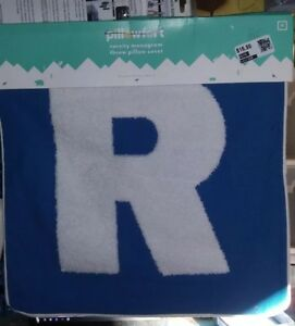 """THROW PILLOW COVER- Letter """"R""""-NEW-by Pillowfort-Blue/white-(B7)"""