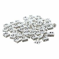 1X(50 Silver Square Rhinestone Rondelle Spacer Beads 8MM HOT I6H4)