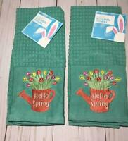 """NEW ~ SET OF 2 """" HELLO SPRING"""" GREEN Kitchen Towels 16"""" X 26"""" 100% COTTON"""