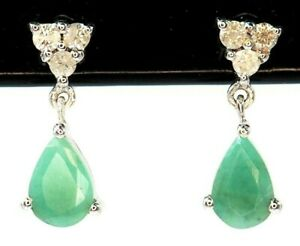 Natural Emerald & Diamond Drop Stud Earrings 10ct White Gold Pierced Ears