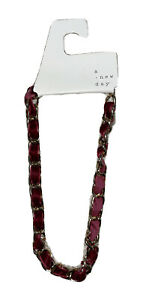 A New Day Chain with Woven Velvet Ribbon Statement Burgundy Necklace
