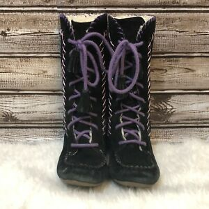 Lands End Nita 12 Girls Lace Up Moccasin boot Black and Purple