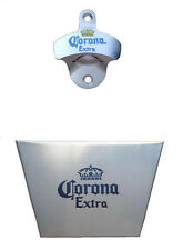 CORONA WALL MOUNTED BOTTLE OPENER & STAINLESS STEEL BAR CAP CATCHER + SCREWS