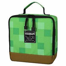 New JINX Minecraft Creeper Block Insulated Kids School Lunch Bag Box Green/Brown