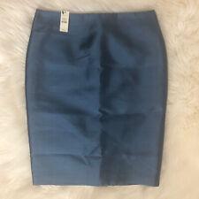 NWT Talbots Womens Size 4 Pencil Skirt Blue Silk Wool Blend Lined