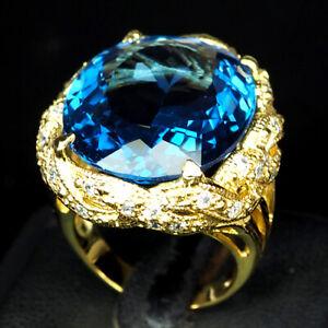 TOPAZ INTENS SWISS BLUE OVAL 30.50 CT. SAPP 925 STERLING SILVER GOLD RING SZ 7