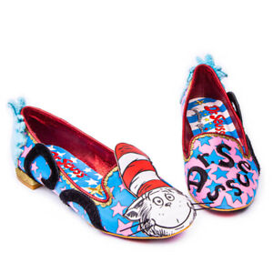 Irregular Choice Flats Dr Suess Pink Blue Red Black Multi Cat In The Hat Shoes