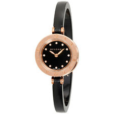 Bvlgari B.zero1 Black Lacquered Dial Black Ceramic Bangle Bracelet Ladies Watch