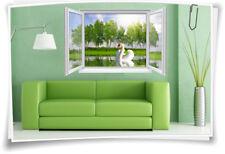 3D Fenster Wandbild Wandtattoo Aufkleber Natur See Schwan Wohnzimmer Deko