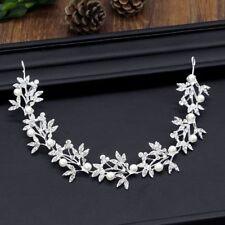 Silver Bendable Pearl Crystal Bridal Hair Vine Wedding Headband Hair Accessories