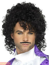 80s 1980s Purple Musician Prince Fancy Dress Wig & Tash Set by Smiffys