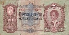 Paper Note -1932 Hungary 50 Pengo Circulated Hi Grade Scarce Note
