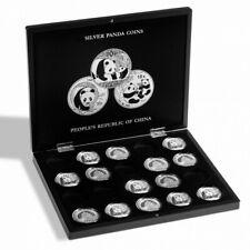 Coffret noir pour 20 pièces Panda argent en capsules.