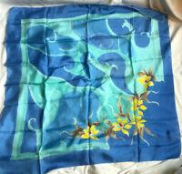 VINTAGE 100% Silk Hand Printed Blue Floral Square Scarf