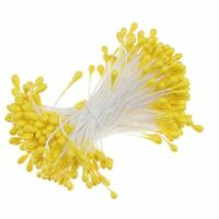 170pcs Pearl Double-Tip Floral Stamens for Flower Making - Yellow
