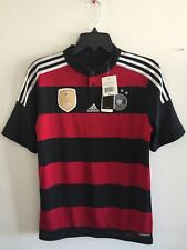 Adidas Germany Away Brazil 2014 (4S)Red Black Silver Jersey Size YXL Boy's Only