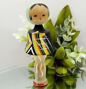 "Vintage Japanese KOKESHI NODDER Doll Wooden Abstract Black Green Japan 4.25"""