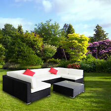 7PC Outdoor Rattan Furniture Set Patio Garden Sectional PE Wicker Sofa Cushion