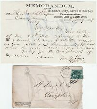 Signed Letter & Cover John Starin Congress Steamboat NY 1st Amusement Park 1878