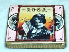 SUPERB VINTAGE DODO DESIGNS ROSA CIGARETTES TIN 1970S GYPSY ACCORDIAN PLAYER