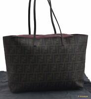 Authentic FENDI Zucca Shoulder Tote Bag PVC Brown B7588