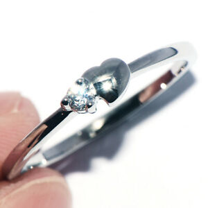 925 Silver Crystal Love Heart Promise Ring for Womens Female Rings Size 9