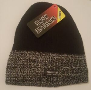 Mens Knitted Thinsulate Warm Winter Wooly Outdoor Chunky Hat Beanie Ski