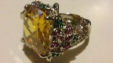 Rock Goddess Cocktail Ring with Large Citrine and Floral shank. Size Q. RRP £175