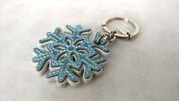 Coach Leather Snow Flake Key Chain Keychain Fob Charm - RARE