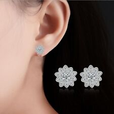 """Silver Crystal Cluster Flower Silver Plated .75"""" Stud Earrings Bridal Prom S6"""