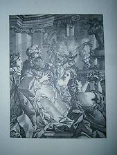 Planche gravure Louis Joseph le Lorrain Salomon adorant les idoles 1742