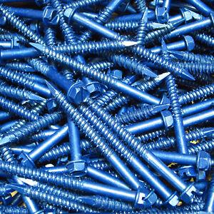 """(1,000) 1/4"""" X 2-3/4"""" Hex Washer Head Masonry Concrete Screw Tapcon Anchor Blue"""