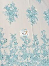 VINTAGE ITALIAN FLORAL BEADED SEQUINS FABRIC - Aqua - BY THE YARD DRESS BRIDAL