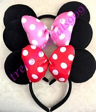 3 Pcs MICKEY MINNIE MOUSE EARS HEADBANDS BLACK PLUSH PUFFY PINK RED BOW Birthday