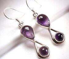 Purple Amethyst Earrings 925 Sterling Silver Dangle Teardrop Double Gemstone New