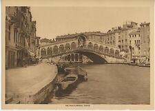 ANTIQUE RIALTO BRIDGE VENICE ITALY ITALIAN ARCHITECTURE NAUTICAL BOAT ART PRINT