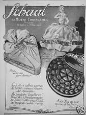 PUBLICITÉ SCHAAL CHOCOLAT BOITE SCARABÉE PORTE-BONHEUR - ROSINE POUPÉE SUR BOITE
