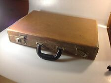 Vintage Brown Hard Leather Briefcase / Attache Case With Keys