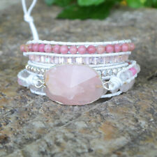 5 Rows Leather Wrap Bracelet Handmade Women Silver Natural Rose Quartz Crystal
